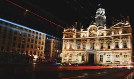Ville de Lyon de nuit, région Auvergne Rhône Alpes