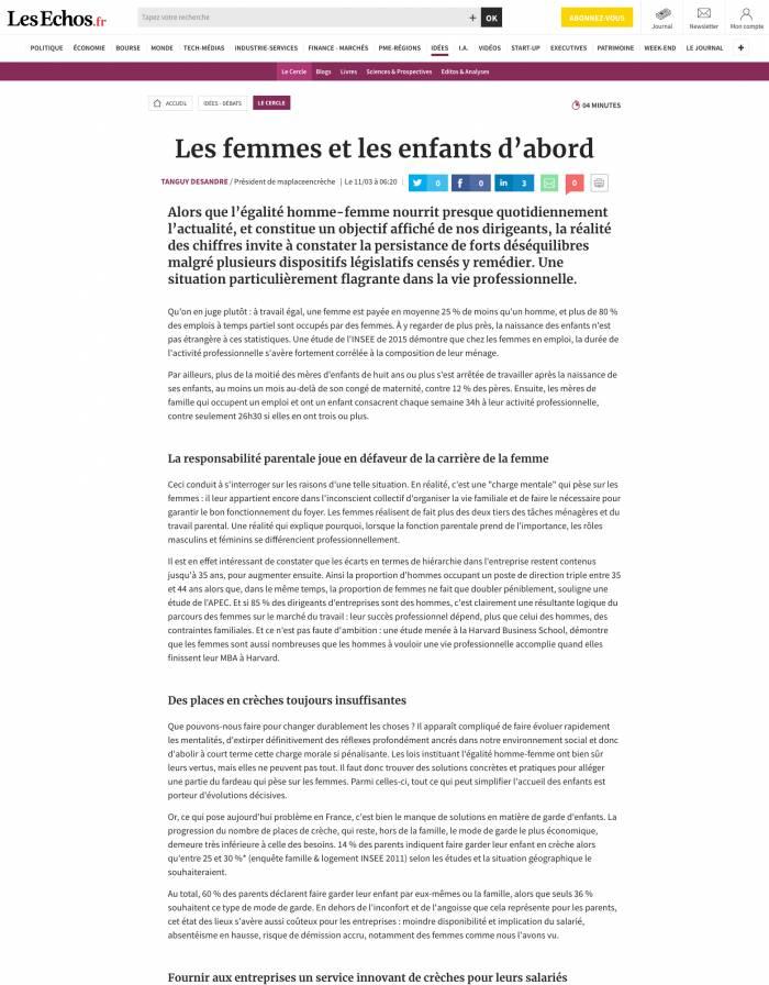 Les femmes et les enfants d'abord! - Tribune publiée dans Les Echos